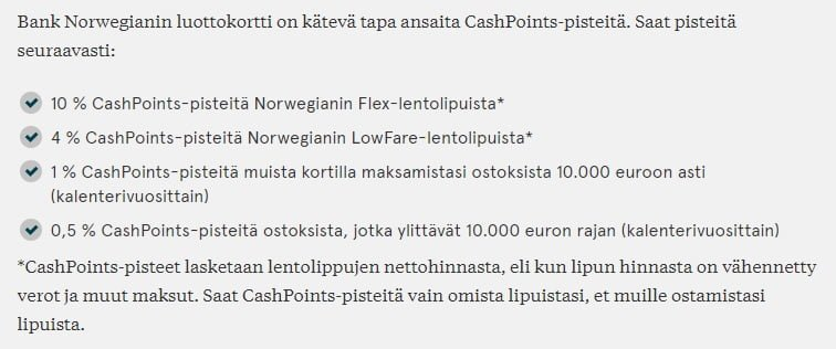 Bank Norwegian CashPoint Pisteet Bank Norwegian   Matkailevan ihmisen luottokortti